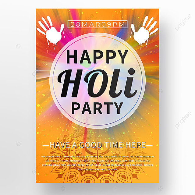 holi festival yellow explosion color poster template