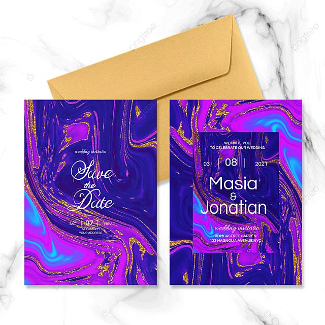 liquid marble wedding invitation