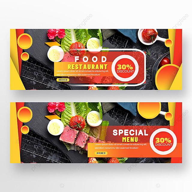 meat double sided restaurant food orange geometric