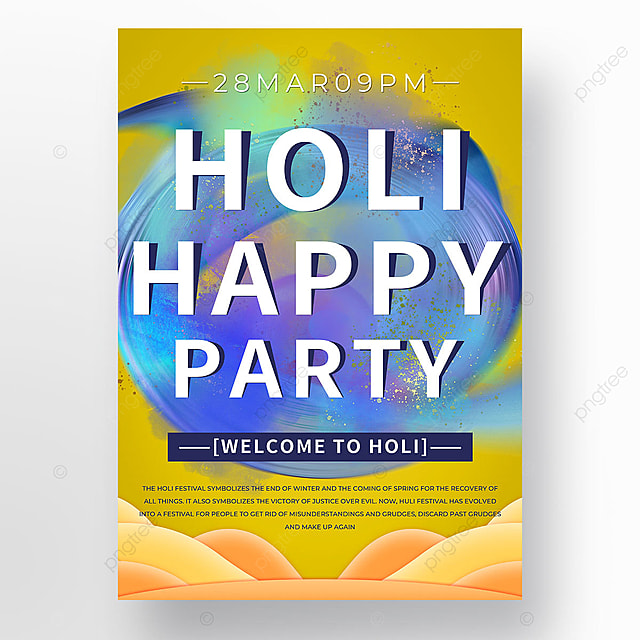 yellow colorful holi poster template