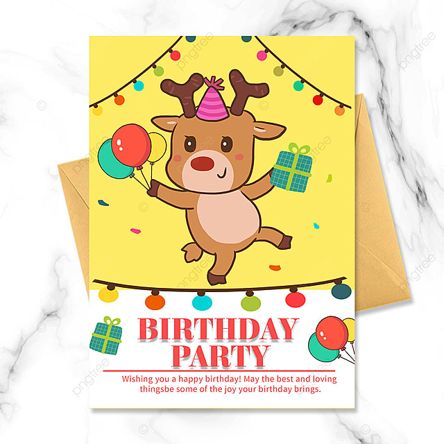 birthday party invitation for cute elk