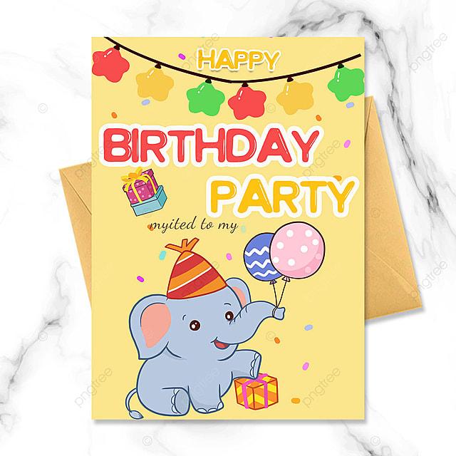 birthday party invitation with cartoon baby elephant