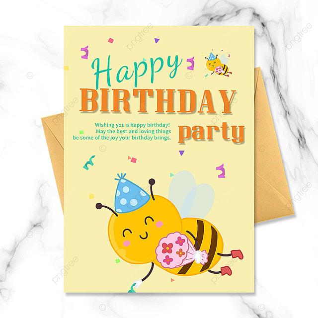 birthday party invitation with cartoon bee