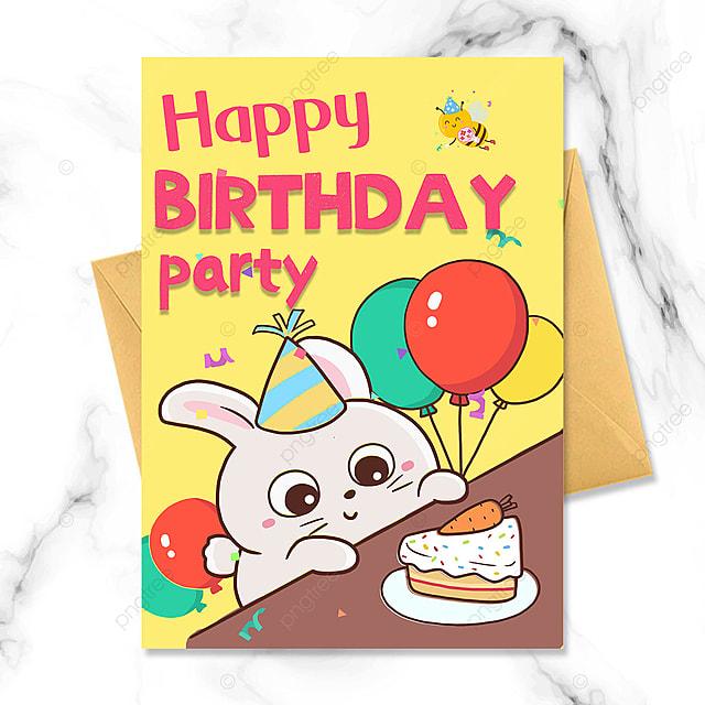 birthday party invitation with cartoon bunny