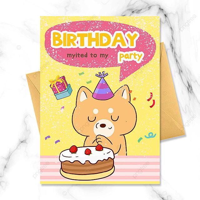 birthday party invitation with cartoon little animals