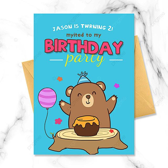 cartoon bear birthday party invitation