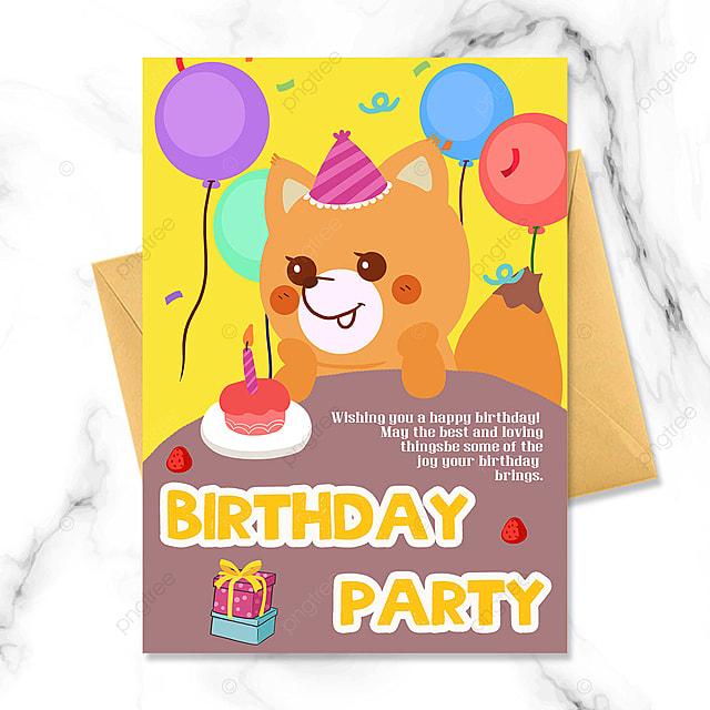 cartoon cute little fox birthday party invitation