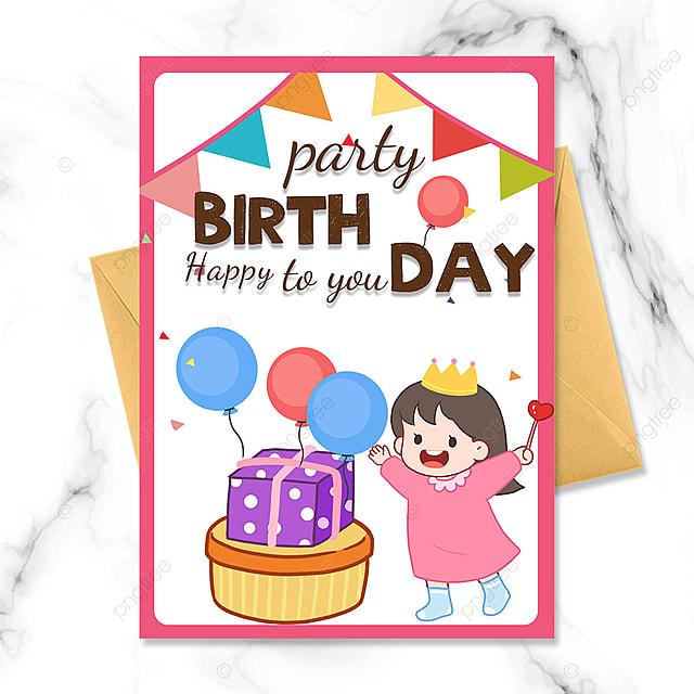 cartoon kid birthday party invitation balloon