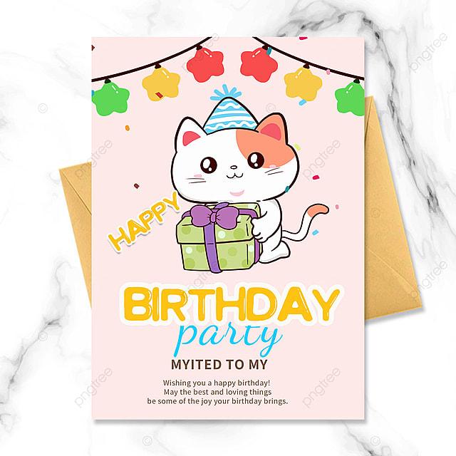 cartoon little cat birthday party invitation
