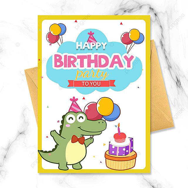 cartoon little crocodile birthday party invitation