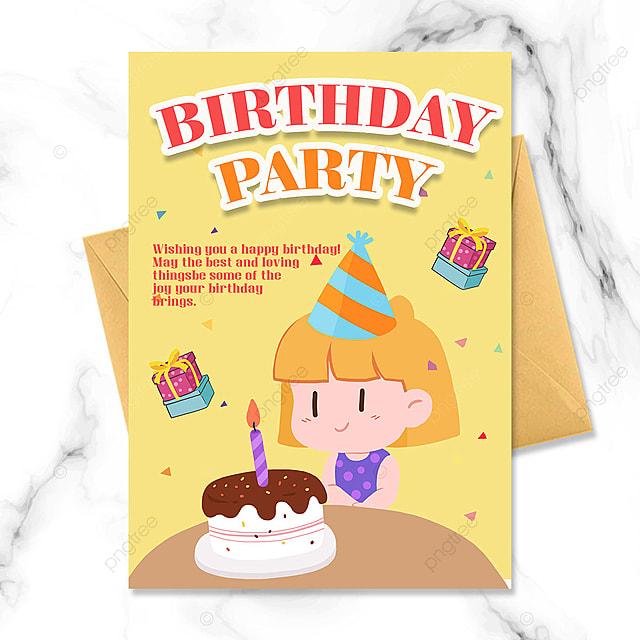 cartoon little girl birthday invitation party