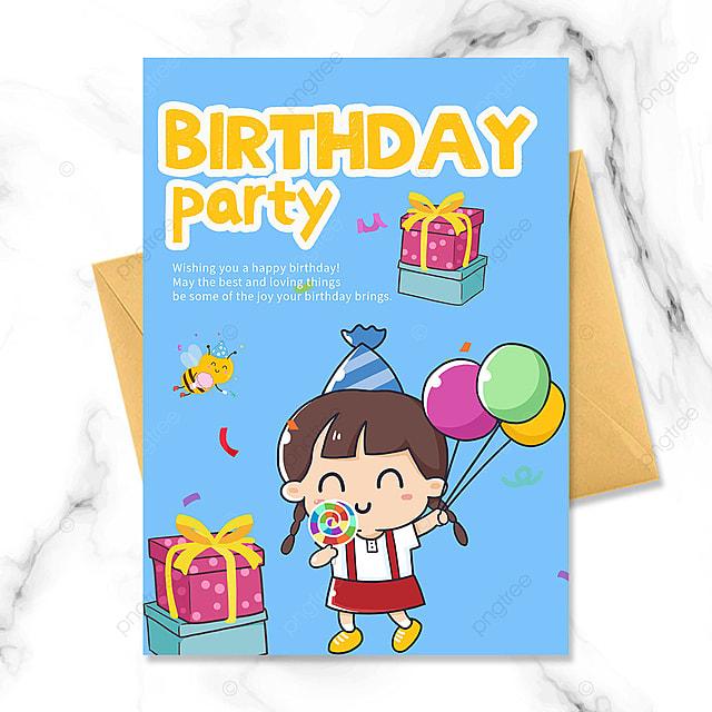 cartoon little girl birthday party invitation