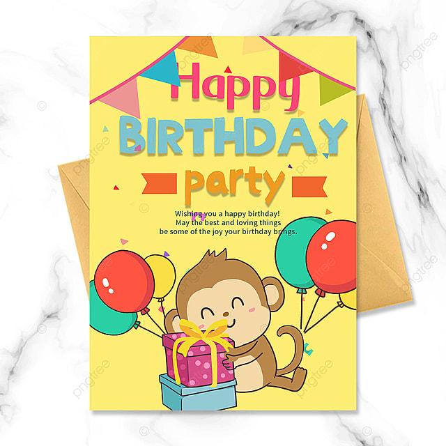 cartoon little monkey birthday party invitation