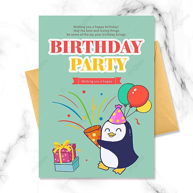 cartoon little penguin birthday party invitation