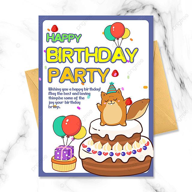 cartoon little squirrel birthday party invitation