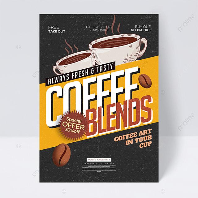 cartoon minimalist retro coffee promotional flyer
