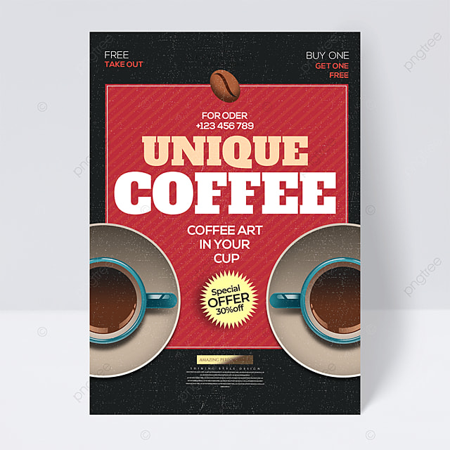 cartoon retro coffee drink promotional flyer