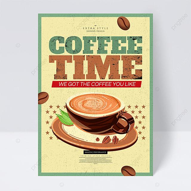 cartoon retro coffee promotional flyer
