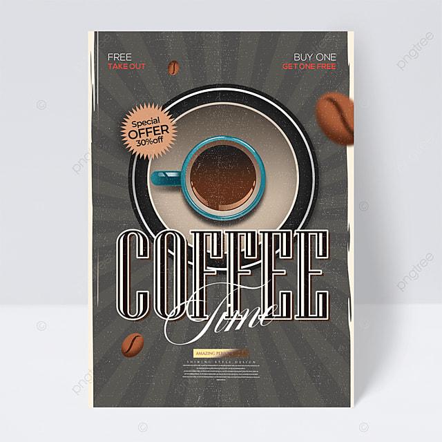 coffee drink personality cartoon retro flyer