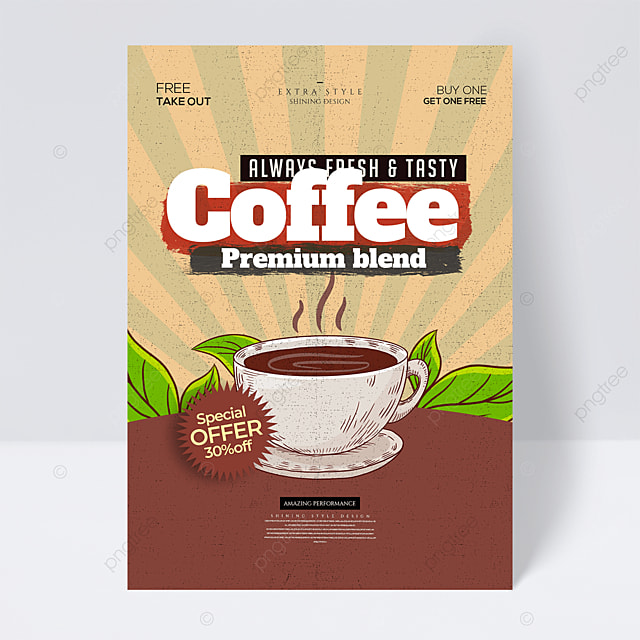 coffee drink retro color promotional flyer