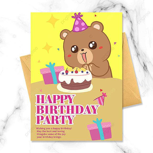cute bear birthday party invitation cartoon