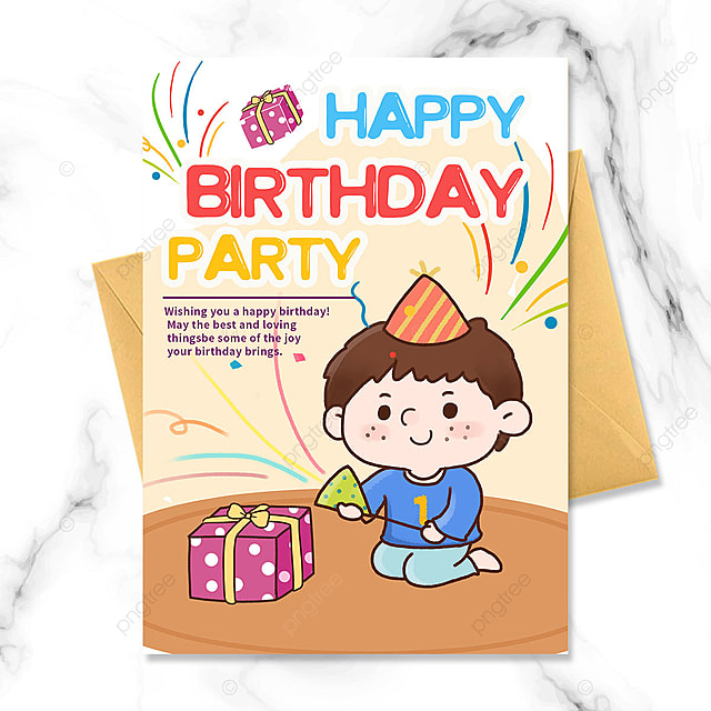 cute kid birthday party invitation