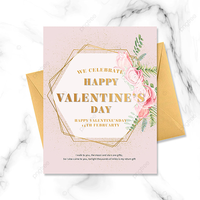 golden border valentine bouquet postcard greeting card