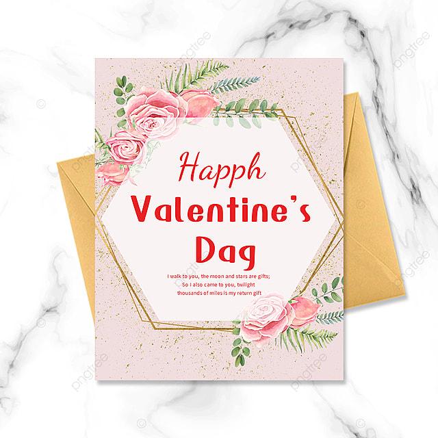 golden border valentines day postcard greeting card bouquet