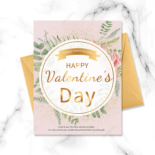 golden circle border valentines day greeting card