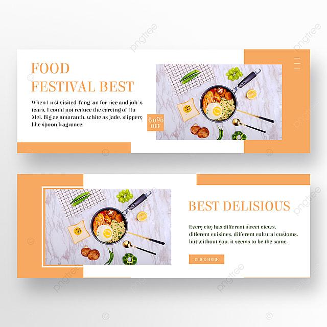 minimalist restaurant orange and white banner