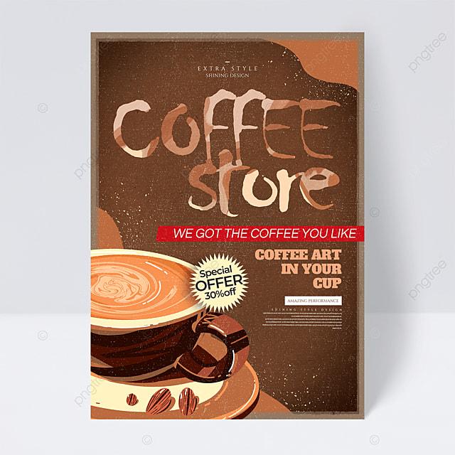 personality retro cartoon coffee flyer