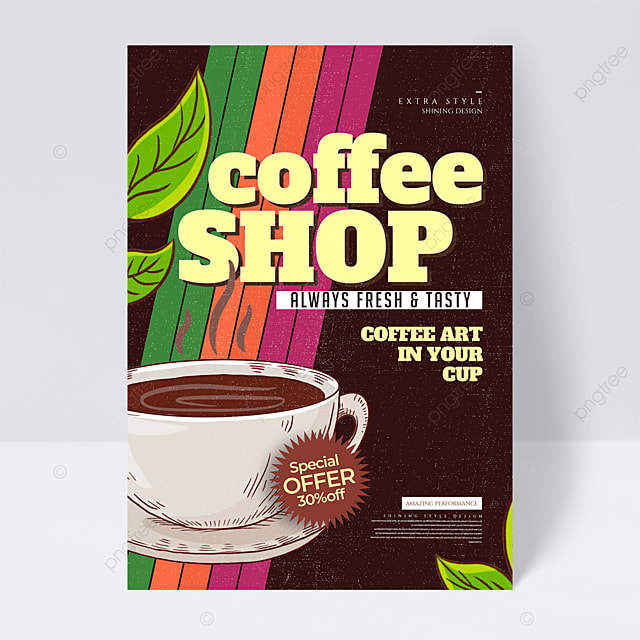 personalized retro color coffee promotional flyer