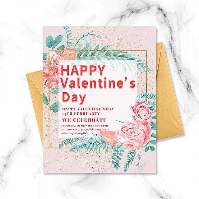 pink bouquet golden border valentines day greeting card