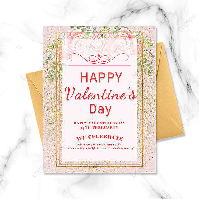 pink gold border valentines day postcard and greeting card