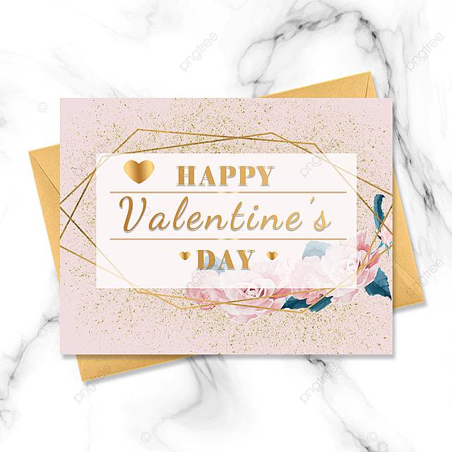 pink golden border valentines day card