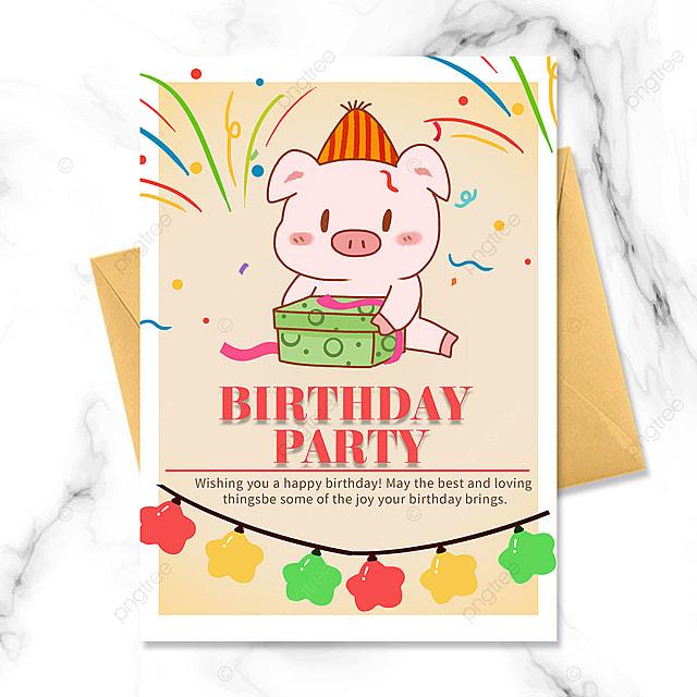 pink piggy birthday party invitation