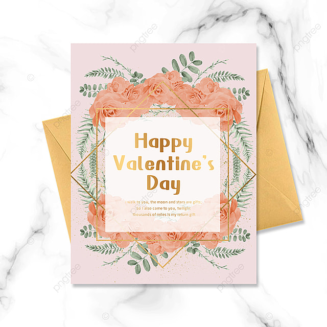 pink valentines day flowers gold frame greeting card