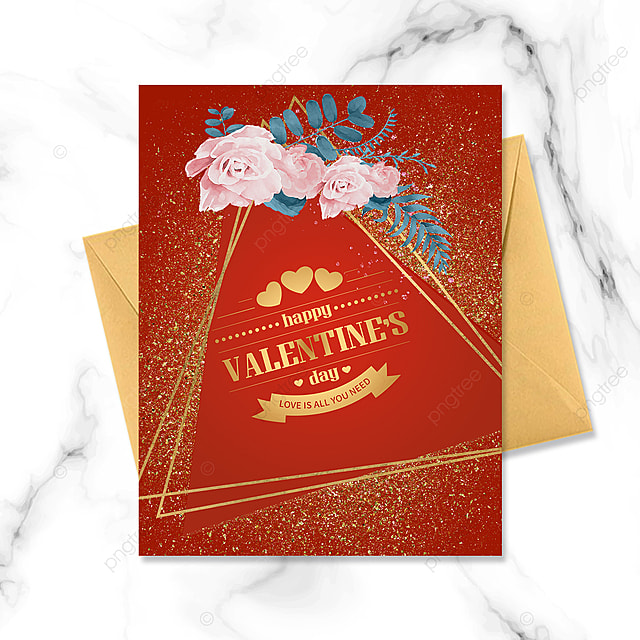 red bouquet simple golden border valentines day greeting card