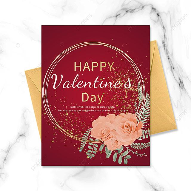 red minimalist valentines day golden border greeting card