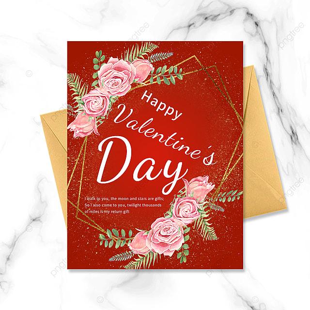 red minimalist valentines day golden border postcard greeting card