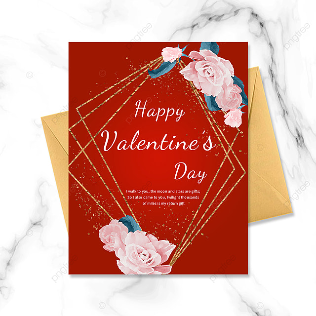 red simple border golden bouquet postcard greeting card