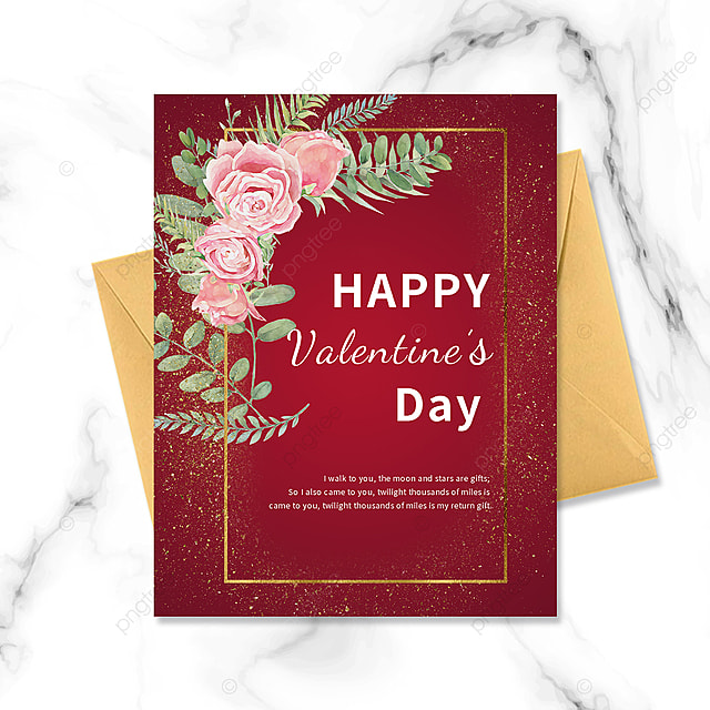 red simple golden border postcard greeting card