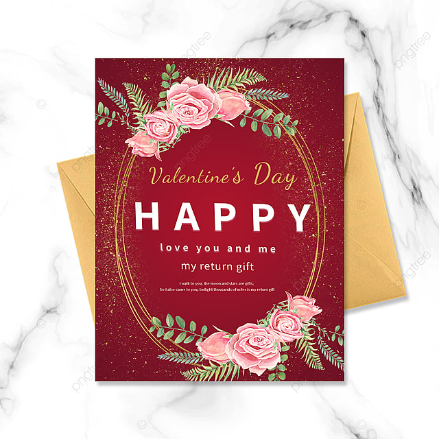 red simple golden border valentine postcard
