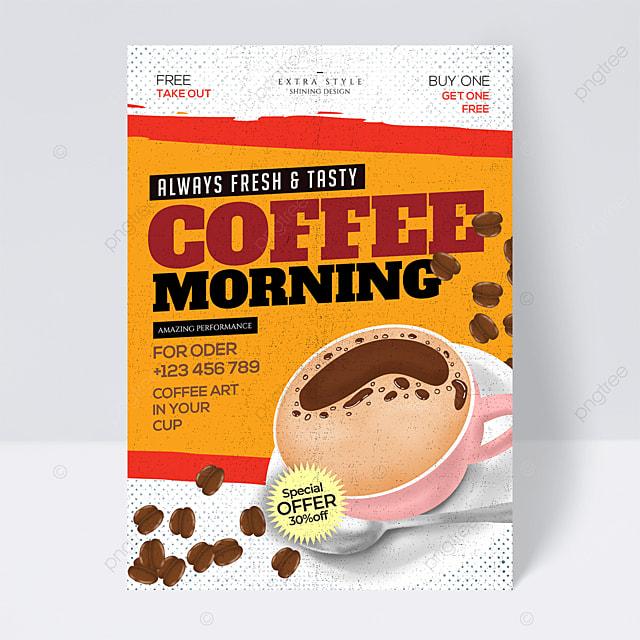 retro cartoon minimalistic coffee flyer