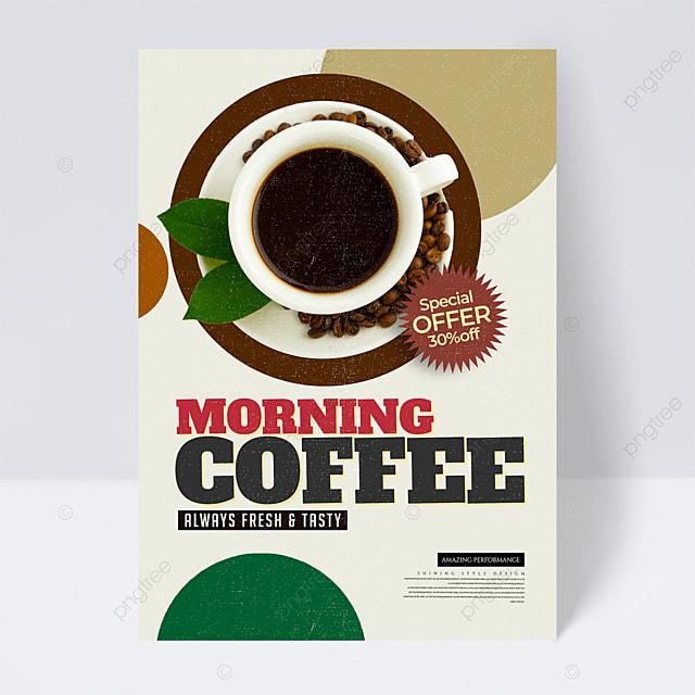 retro color block geometric coffee promotional flyer
