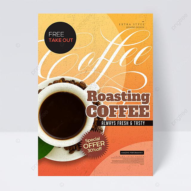 retro color coffee drink promotion flyer