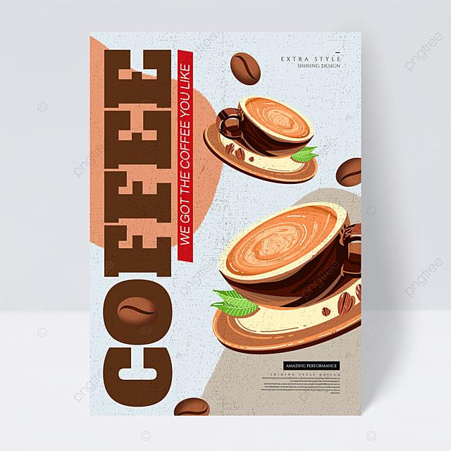 retro geometric color coffee promotional flyer