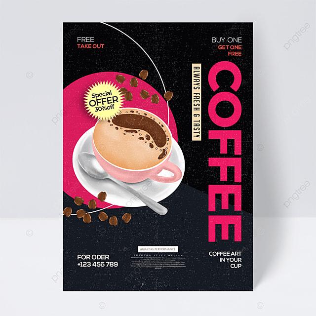 retro geometric line coffee promotional flyer