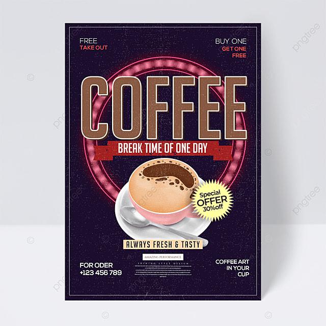 retro minimalistic cartoon coffee promotion flyer