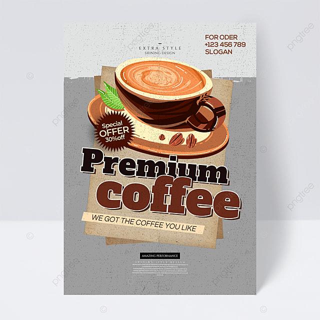 retro personality cartoon coffee drink flyer